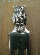 Beautiful Solid Silver 925 Bookmark With A Wise Owl Topper