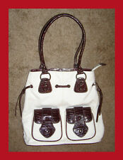 NEW White & Burgundy Canvas Tote Shoulder bag by Earth Axxessories Zipper top