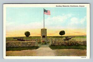 Hutchinson KS, Harding Memorial, Military Guns, Rock Wall, Linen Kansas Postcard