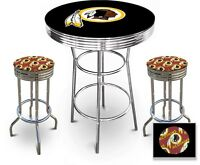 Fc507 nfl themed chrome metal black bar pub table set w 2 swivel fc507 nfl themed chrome metal black bar pub table set w 2 swivel seat stools watchthetrailerfo