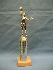 female Basketball trophy award silver column wood base