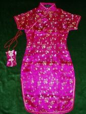 New Girls Satin Floral Chinese Dress Hot Pink Red Baby Pink 9 Month to 16 Years