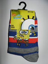 Spongebob Socken/Strümpfe* 23/26 * Blau,Grau,Orange gestreift *Neu (T52)