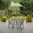 Outdoor Patio Dining Set Furniture Backyard With Table 4 Chairs Umbrella Tan New