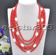 """S2084 5Row 21"""" Red Round Coral White Baroque Pearl Necklace"""