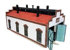 Engine shed, 2-stall, laser cut kit for model railroad layout 1:87 HO