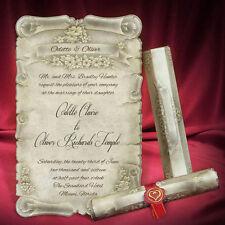 100 Scroll Wedding Invitations Unique Gold Medieval Invitations Free Shipping