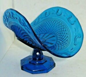 Vintage Art Blue Glass Footed Pressed Dish Bowl Floral Rim Diamond Point Design