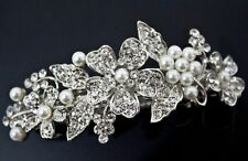 beautiful elegant wedding bridal barrette pearl and crystal hair clip USA seller