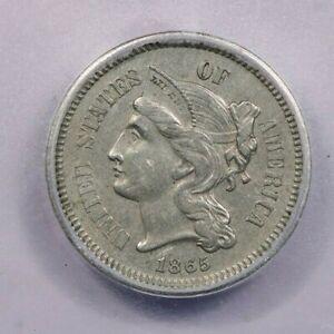 1865-P 1865 Three Cent Nickel ICG AU55