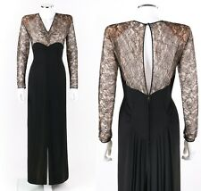 Vtg Couture c.1940's Black Rayon Crepe Floral Lace Illusion Evening Dress Gown