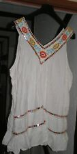 Evans white sleeveless top v neck front & back mirrors embroidery 30 NWT