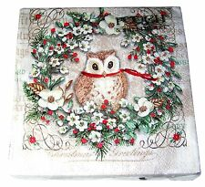 Pooch & Sweetheart 40 Paper Beverage Napkins Natural Owl Christmas Punch Studio