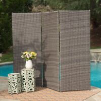 Osage Contemporary Outdoor Mixed Brown Wicker Folding Screen