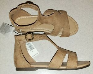 NEW Old Navy Toddler Girls SIZE 8 Faux Suede T-Strap Sandals TAN #32120