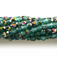 Aquamarine Green Vitrail - 50 3mm Faceted Round Fire Polish Czech Glass Beads