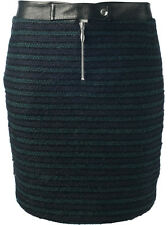 ROSEANNA Black Green Striped Wool Skirt w Leather Trim NEW NWOT $508 Sz 36 Small