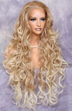 36 Long Loose open Beachy wavy Full Lace Front Wig Blonde mix UNB 27-613