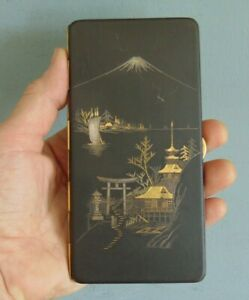 VINTAGE JAPANESE DAMASCENE MIXED METAL CIGARETTE CASE DECORATED in SILVER & GOLD