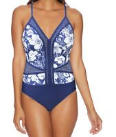 Next Womens Swimwear Blue Small S Floral Mesh Back-Cutout Swimsuit $106- 921