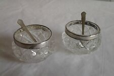 Antique Glass Solid Sterling Silver Rim Salts with Spoons - James Deakin & Sons