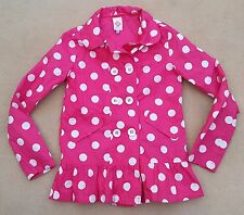 JOHN LEWIS Kids Girls Pink White Spots Showerproof Jacket Mac Zip Up Age 12 Yrs