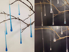 Glass Icicle Set of 6 Christmas Tree Decoration Smooth Twisted Blue AB Crystal