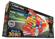 Laser Pegs 30-in-1 297PCS Fire Truck Light Up Building Kit | Tinted Bricks new
