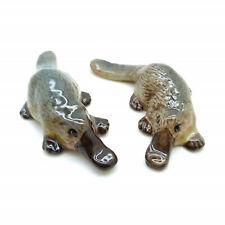 2 Platypus Duckbill Watermole Ceramic Figurine Animal Statue - COT002