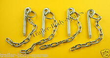 FREE UK Post - 4 x 10mm Cotter Pin & Chain - Trailers and Horse Box  #AJD