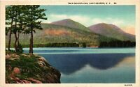 Vintage Postcard - Posted1936 twin Mountains Lake George New York NY #4263