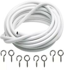 3m/10ft White Curtain Wire Set Hook & Eyes Hanger Voile Net Cord Cable 3m Length