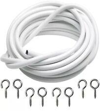 Conjunto de alambre de cortina de 3m/10ft Blanca gancho y Ojos cable de cable de red de suspensión Voile longitud 3m