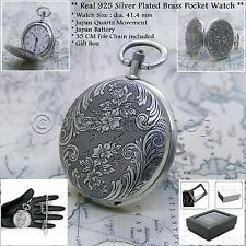 10 Micron Real Silver Plated Pocket Watch Brass Case 41 MM with Chain Unisex 102