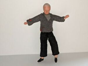 GRANDFATHER Vintage Caco Dollhouse Doll Grandpa/Man in Cardigan Sweater/Pants