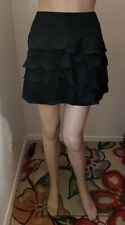 Ruffled Mini Skirt Size S 4/6 Black Silk Tiered Lined Zip-up