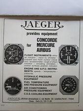 10/1972 PUB JAEGER AERONAUTIQUE CONCORDE AIRBUS MERCURE INSTRUMENT EQUIPMENT AD