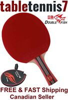 GENUINE Double Fish 4 Star Ping Pong Paddle Table Tennis Racket & FREE Case.