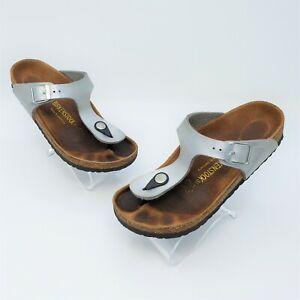 Birkenstock Gizeh Kids Metallic Silver Buckle Thong Sandal Size 32 US 1 Narrow