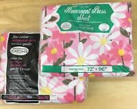 Vintage Eatons Canada 100% Cotton No Iron Twin Bed Sheet Set Pink Flower Power