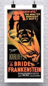 Bride of Frankenstein Vintage Horror Movie Poster Canvas Giclee Print 17x30 in.