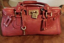 Chloe Paddington Bag Red Leather Satchel W/ Unique brass Antique Lock