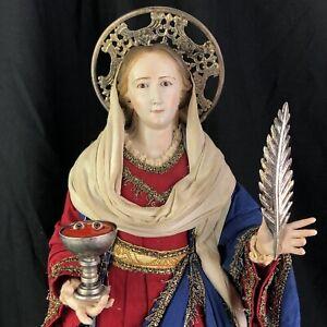 Santa lucia  46 Cm Santo Statua Sacra Vestita protettrice occhi pama martirio