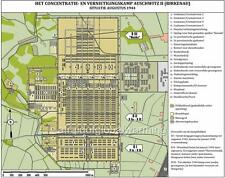Map Auschwitz II Nazi German Concentration Camp (Birkenau) as of Aug 44