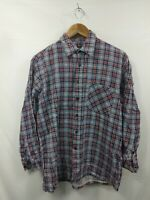 Mens Vesta Blue Check Vintage Long Sleeve Casual Shirt Size 40 #2H1
