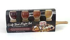 New Hillshire Farm Craft Beer Flight Set Mini Beer Glasses Wood Board