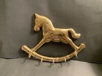 "Brass Rocking Horse Wall Hook 5 Hooks, Home Decor 8.5"" Vintage Key Holder"