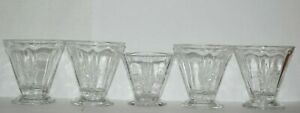 Set of 5 Fostoria Baroque Clear Glass Cocktail Glasses
