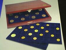 SAFE COFANETTO BOX in legno con 3 VASSOI assortiti divisione QUADRA x 79 monete
