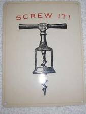 Vintage Retro Style Metal Sign Wall Plaque-BARMANS CORKSCREW-SCREW IT! FAB!